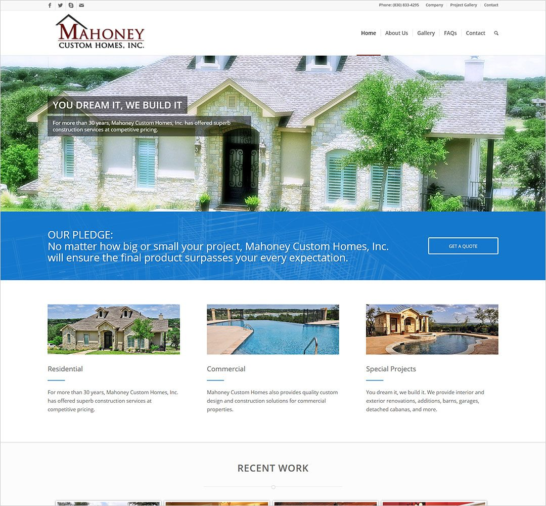 Mahoney Custom Homes website