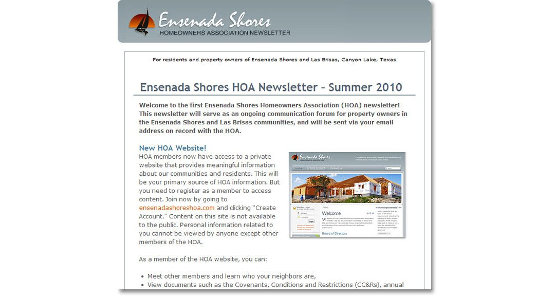 Homeowners Assoc. e-Newsletter
