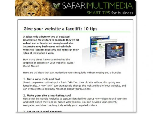 Safari SmartTips e-Newsletter